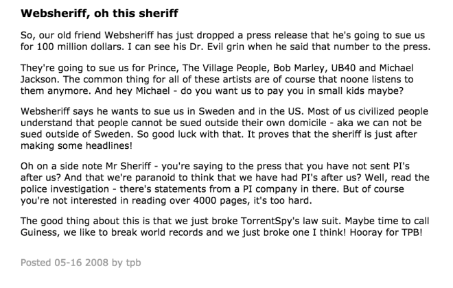 Pirate Bay Web Sheriff Mockery