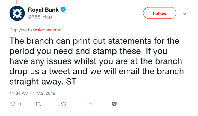 RBS Bank Statements FLR(M)