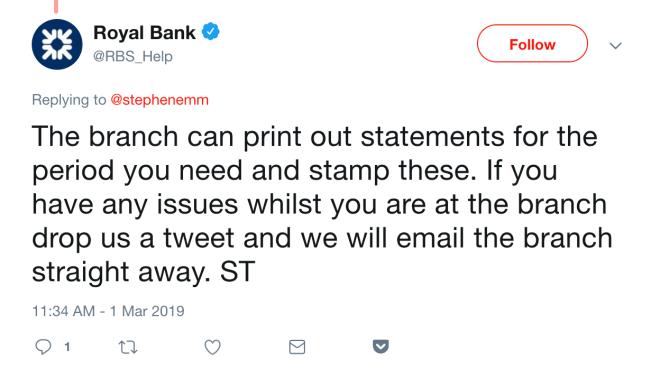 RBS Bank Statements FLR(M)